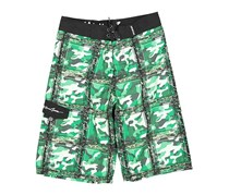 Maui and Sons Boy's Camo Plaid Board Shorts, Green