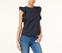 J.o.a. Women's Pinstripe Ruffle Sleeve Top, Navy