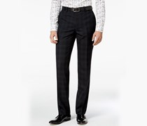 Men's Slim-Fit Blackwatch Plaid Tuxedo Pants, Navy