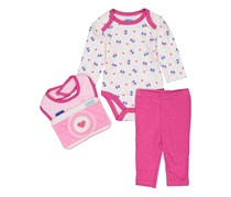 Bon Bebe Baby Girls Camera Love 3 Piece Set, White/Pink