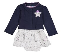 Bon Bebe Baby Girls Bodysuit Dress With Cardigan, Grey/Navy