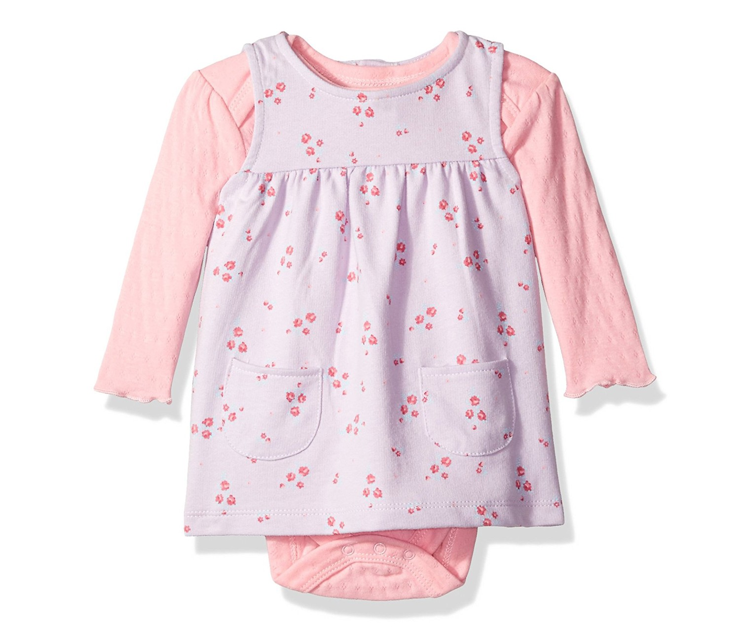 Baby Girl's French Terry Jumper And Bodysuit Set, Lilac Flowers