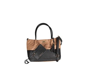 Kathy Ireland Women's Quilted Totes Bag, Tan/Black