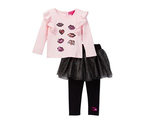 Betsey Johnson Little Girls Sequin Patch Ruffle Tee & Tulle Skegging Set, Blush/Black