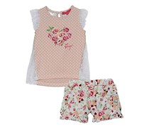 Betsey Johnson Heart & Floral 2pc. Shorts Set, Rose Quartz