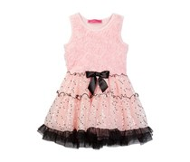 Betsey Johnson Little Girls Soutache Top & Dot Tulle Tutu Bottom Dress, Rose Quartz