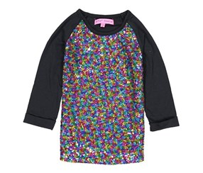 Betsey Johnson Girls Sequin 3/4 Sleeve Top, Black