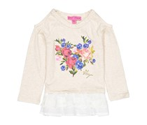 Toddlers Cold Shoulde Floral Print Top, Oatmeal