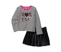 Toddlers Sequin Embroidered Striped Tee, Black/White