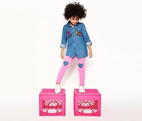Betsey Johnson Girls Love Chambray Shirt Legging Set, Blue/Pink