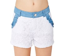 Betsey Johnson Girls Lacey Shorts,Bright White