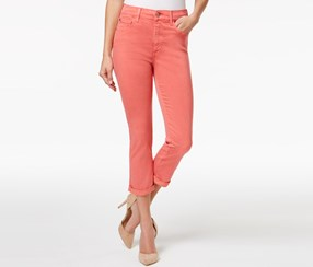 Buffalo David Bitton Ivy White Wash Capri Jeans, Coral