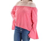 Buffalo David Bitton Womens Tarley Off-The-Shoulder Linen Pullover Top, Coral
