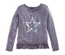 Bloomie's Girls' Ruffle Trimmed Star Tee, Charcoal