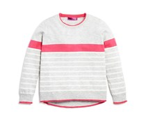 Girls' Color Tipped Wool Blend Sweater, Grey/Pink