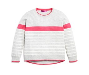 Aqua Girls' Color Tipped Wool Blend Sweater, Grey/Pink