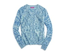 Aqua Little Girl's Sweater, Mint/Blue