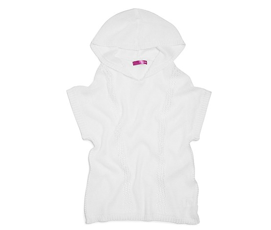 Aqua Girls' Hooded Drop Stitched Sweater, White