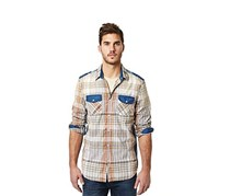 Buffalo David Bitton Plaid Contrast-Trim Long-Sleeve Shirt, Multi