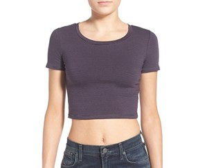 BP. Women's Junior Stretch Cotton Crop Tee, Navy Combo