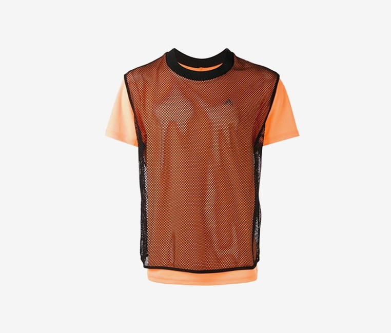 Layered Fishnet T-shirt, Black/Orange