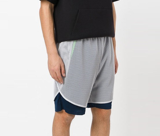 Layered Fishnet Sport Shorts, College navy