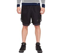 Adidas Layered Fishnet Sport Shorts, Black