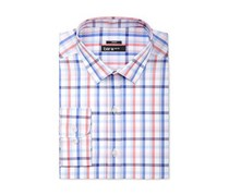 Bar III Mens Slim-Fit Coral Blue Checked Dress Shirt, Coral