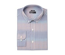 Bar III Slim-Fit Stretch Gingham Dress Shirt, Coral Blue