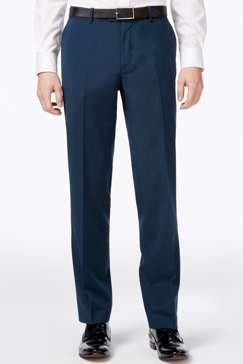 Men's Asteroid Teal Slim-Fit Tuxedo Pants, Teal