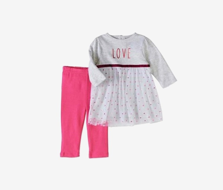 Baby Girl Glitter Tulle Dress & Leggings Set, Grey/Pink