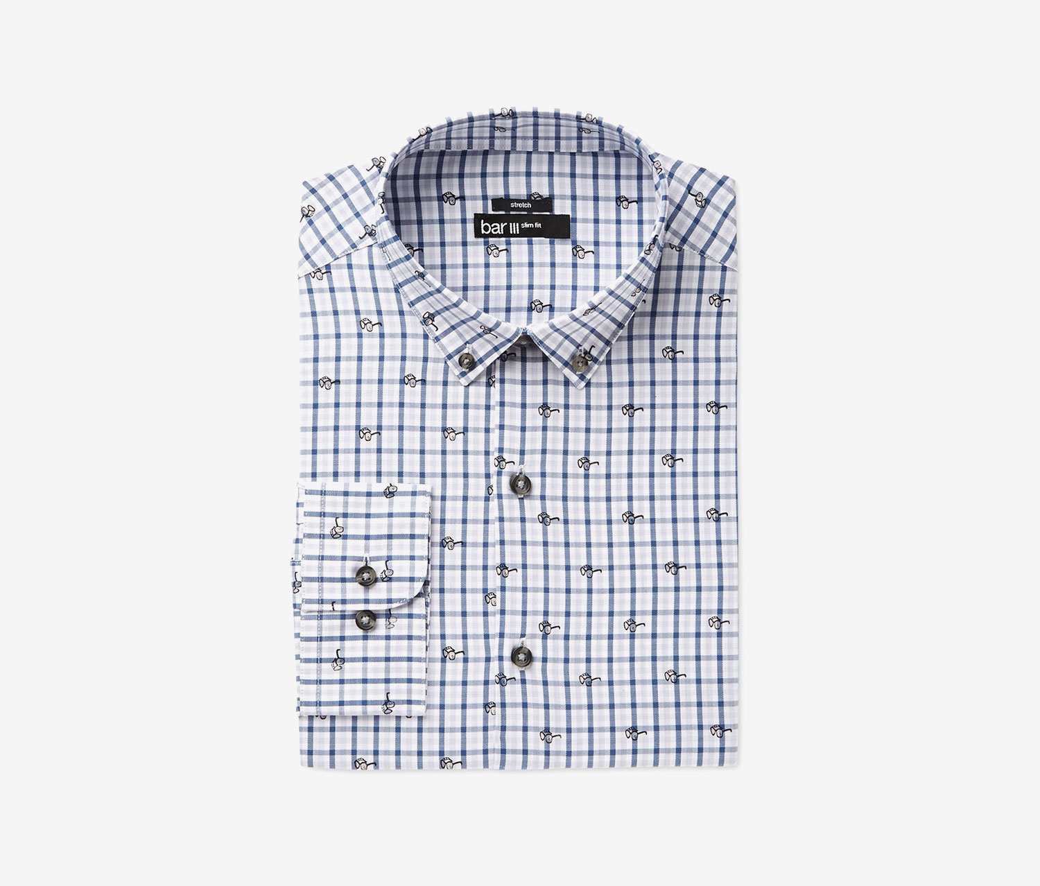 Bar III Men's Easy CareBlue Sunglasses Gingham Print Dress Shirt, Blue/White
