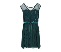 Speechless Illusion Sequin Lace Dress, Emerald