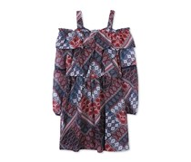Speechless Printed Ruffled Cold-Shoulder Dress, Navy/Maroon