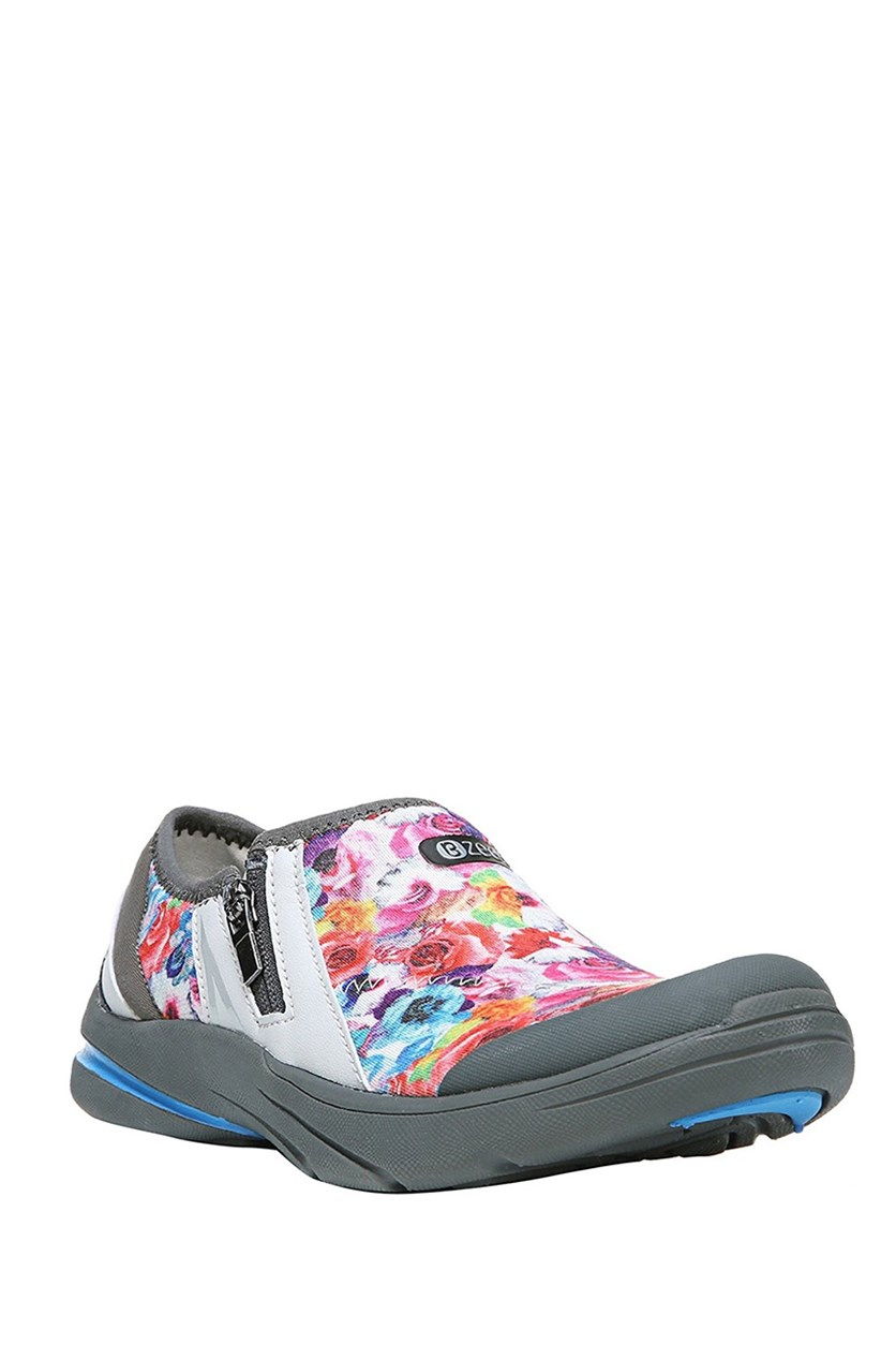 Lifetime Fabric Low Top Zipper Fashion Sneakers, Neon Floral