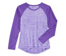 Champion Little Girls' Space-Dye & Mesh Raglan-Sleeve Top, Purple
