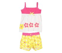 Nannette Toddlers Girls Embroidered Top & Woven Short Set, Pink/Yellow/White