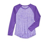 Champion Girls' Space-Dye & Mesh Raglan-Sleeve Top, Purple