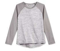 Champion Girls' Space-Dye & Mesh Raglan-Sleeve Top, Grey