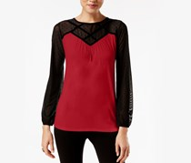 August Silk Women's Colorblocked Illusion Top, Uno Red