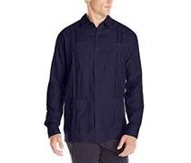 Cubavera Men's Linen 4-Pocket Guayabera Shirt, Navy