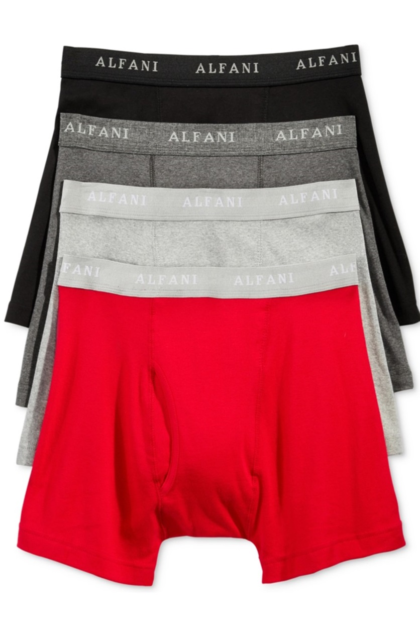 c572d5c9a391 Shop Alfani Alfani Mens 4-Pk. Cotton Boxer Brief, Red/Black/Grey for ...