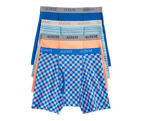 bd3d92132302 Shop Alfani Alfani Mens 4-Pk. Cotton Boxer Brief, Blue Melon for Men ...
