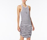 Chelsea Sky Striped Ruched Dress, White