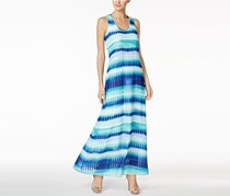 Calvin Klein Striped Chiffon U-Neck Maxi Dress, Regatta