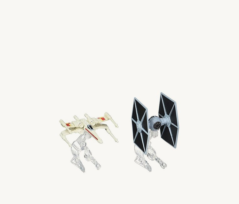 Star Wars Starship TIE Fighter vs. X-Wing Vehicle 2-Pack, Light Grey/Black
