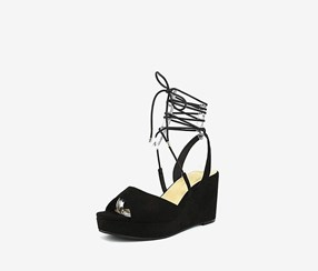 Chinese Laundry Cindy Lace-Up Wedge Sandals, Black