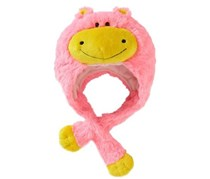 Premium Plush Hat, Neon Pink/Yellow Hippo