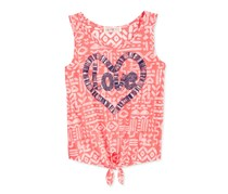 Kandy Kiss Girls Love Tie-Front Tank, Coral