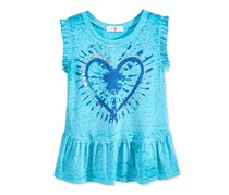 Kandy Kiss Girls Peplum-Hem Graphic-Print, Teal